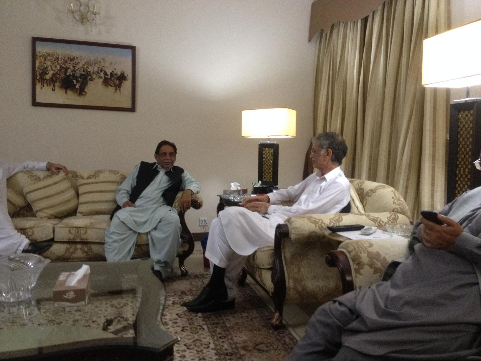 Meeting With Mir Jan Muhammad Jamali with CM KPK For Road Construction on OCtober 24, 2013.